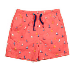 Coral Sailboat Tristan Swim Trunk
