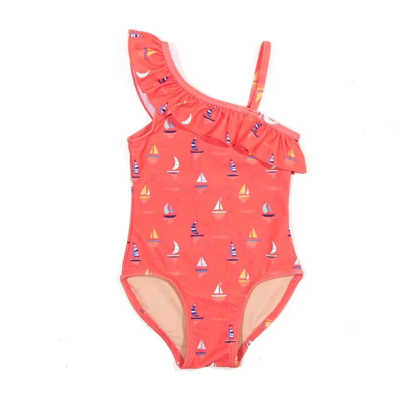 Coral Sailboat Belle One Piece Swimsuit