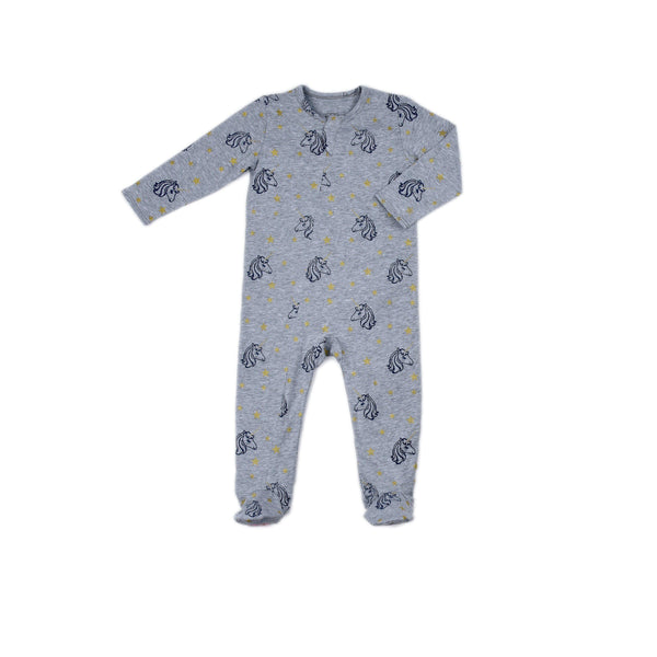 Unicorn Print Classic Zipper Footie