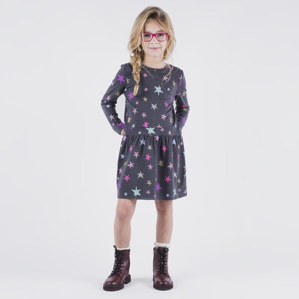Star Charcoal Print Camilla Dress
