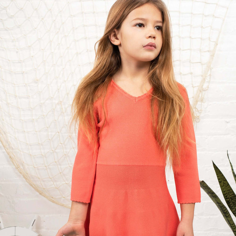 Fit and flare knit dress for girls