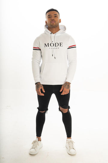 White - Mayfair Striped Hoodie
