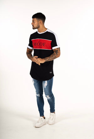 MIAMI CURVED HEM T SHIRT BLACK/RED/WHITE