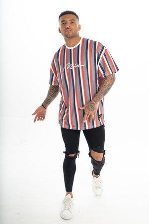Oversized Grey Valencia White/Red/Black Striped T-Shirt
