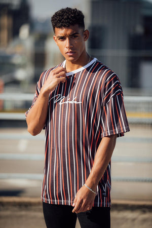 Valencia Oversized Black/Red/White stripe T-Shirt