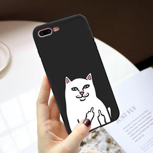 Cat Middle Finger Case For iPhone