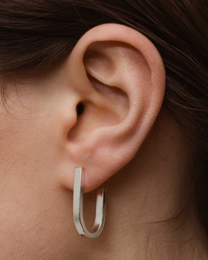 Solid Sterling Silver Chunky U hoop earrings.