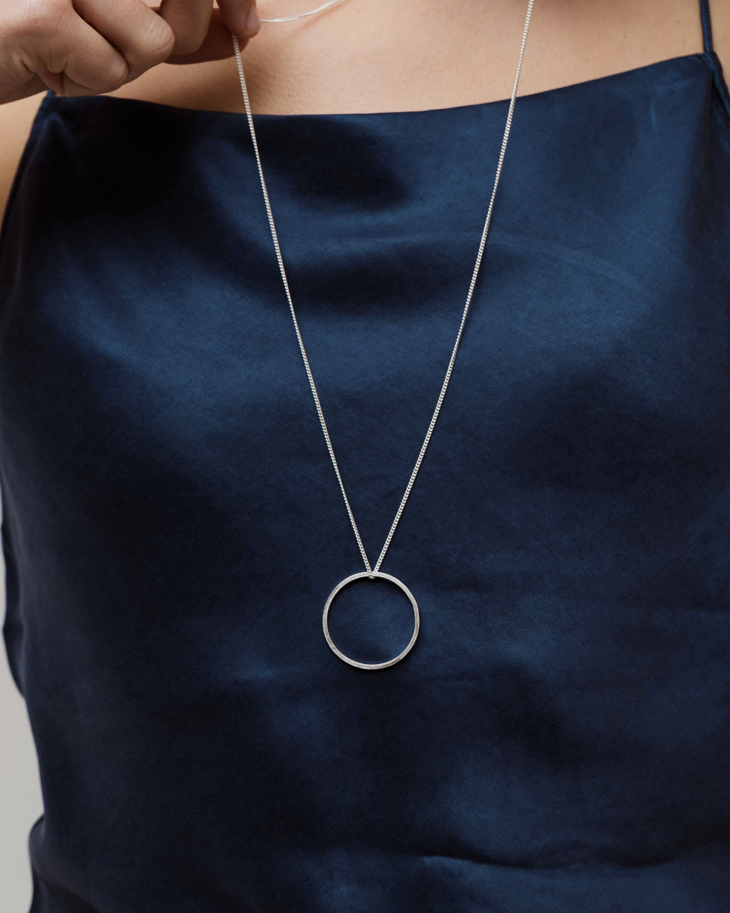 Geo Necklace Long length Silver Circle