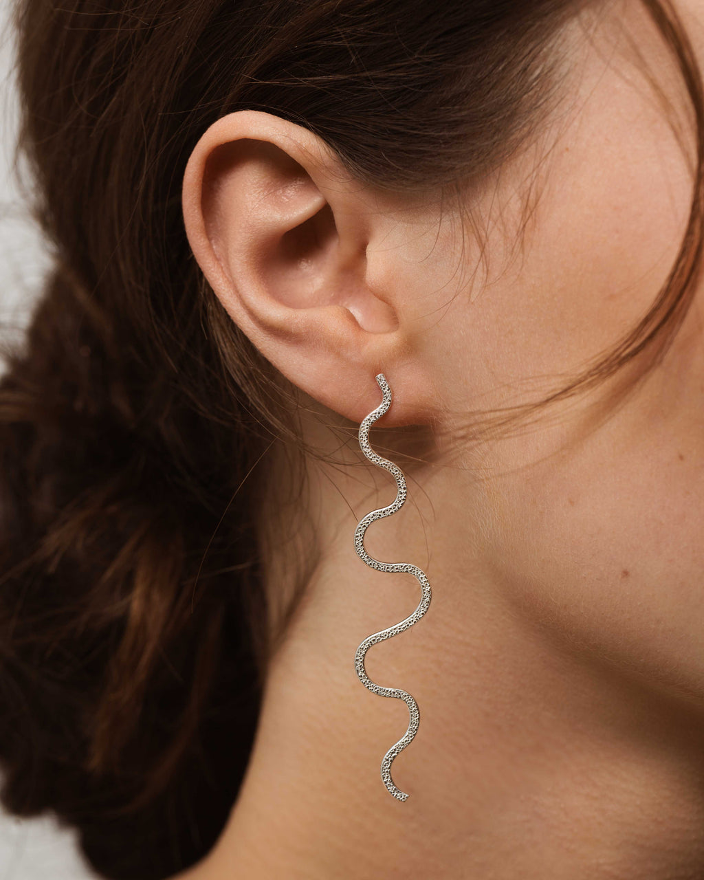Sterling Silver Squiggle Stud  Earrings