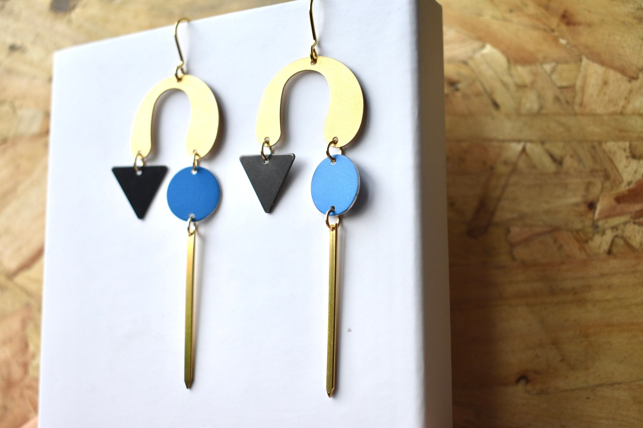 Blue and Gold Statement earrings