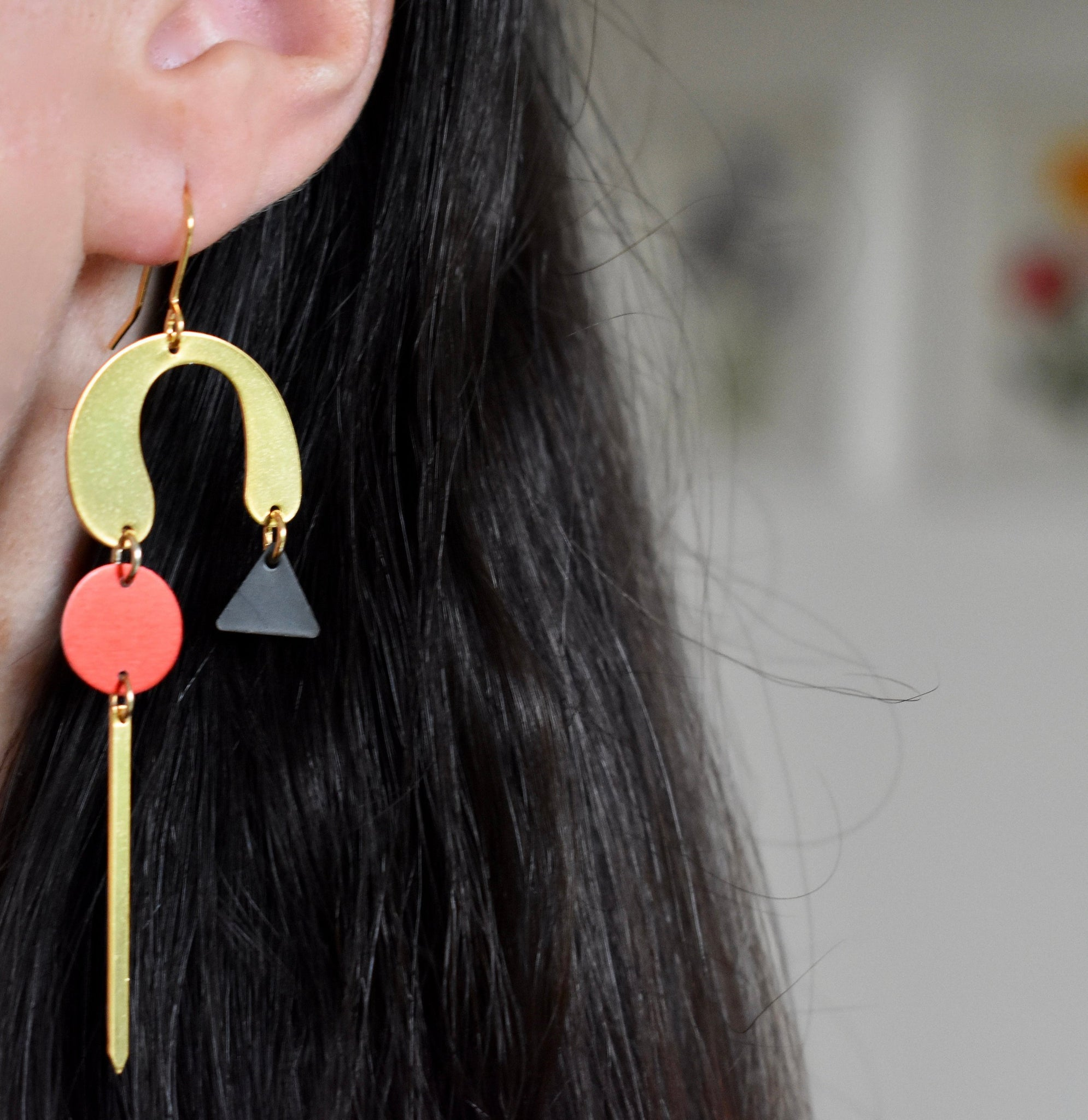 Large Red and gold lightweight Statement earrings.