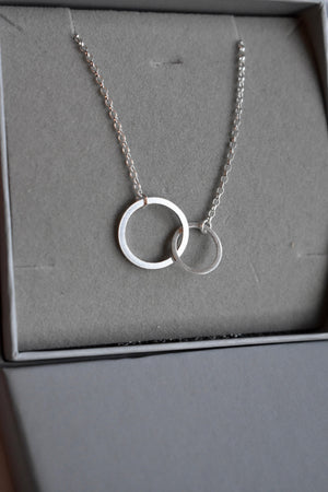 Sterling Silver 925 Infinity Circle Necklace, handmade.