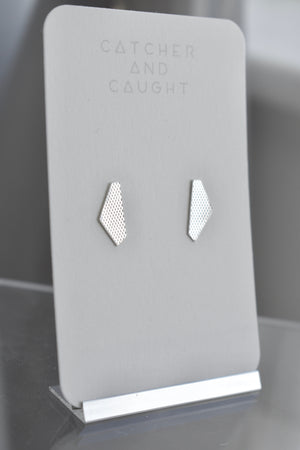 Textured geometric sterling silver stud earrings