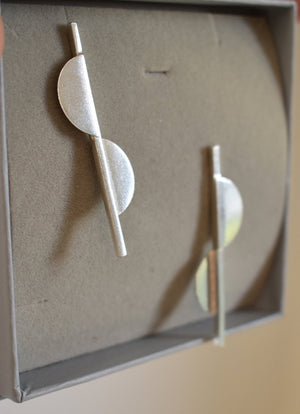Bauhaus Style Sterling Silver Earrings,