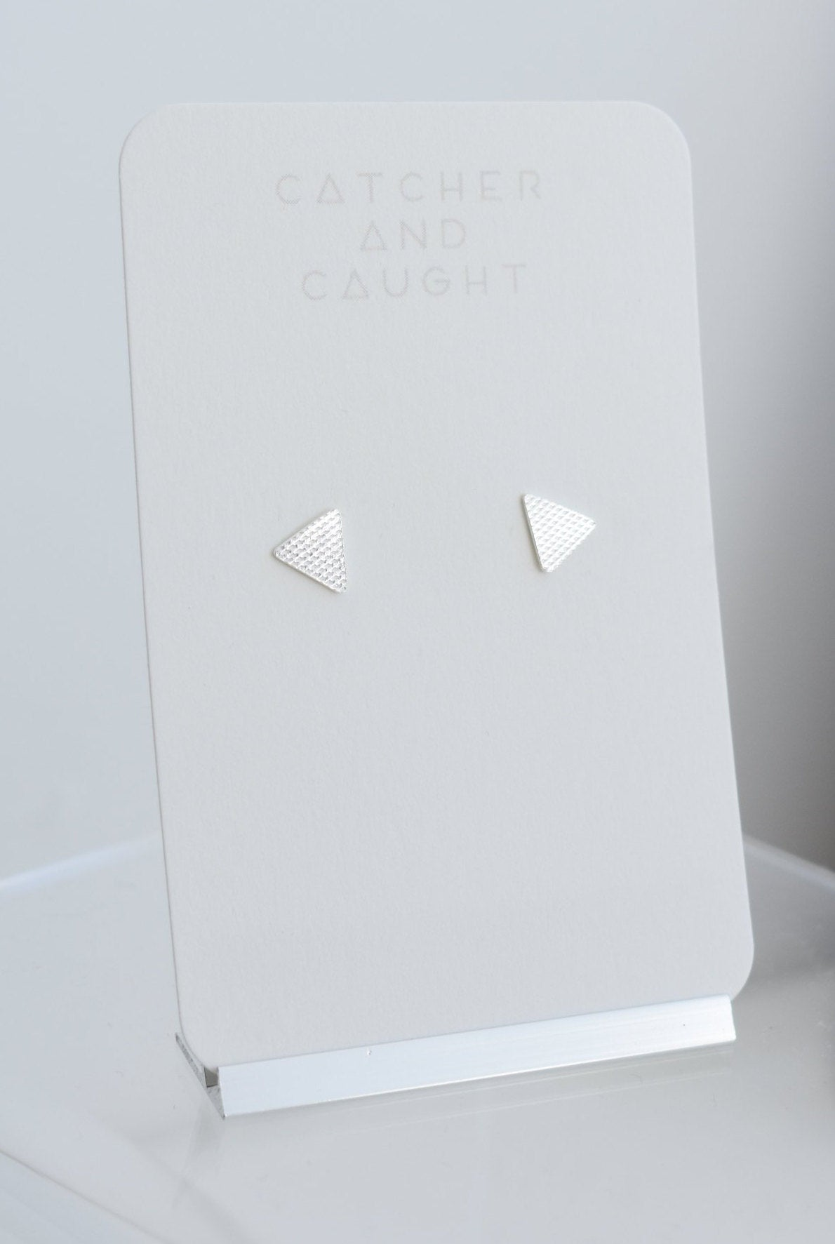 Textured mini triangle studs. Sterling Silver