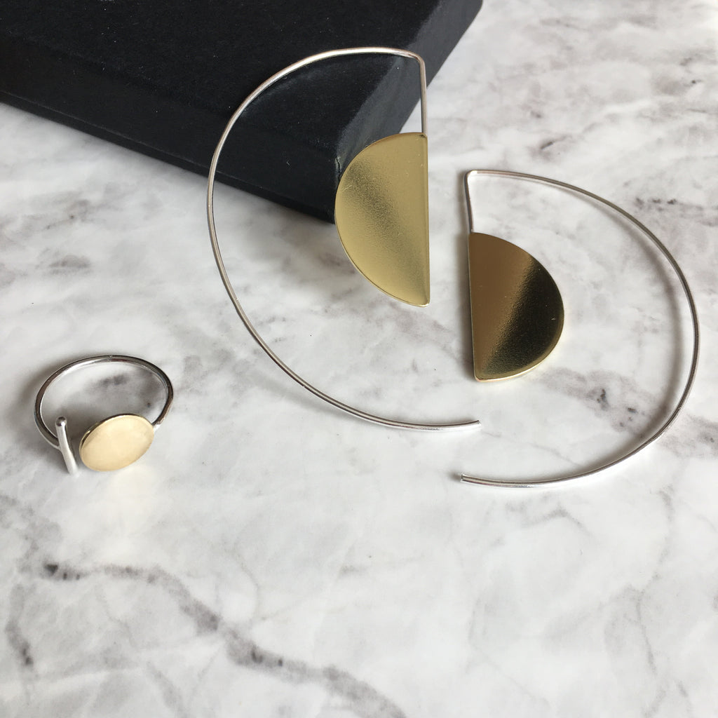 Bauhaus earrings and ring set