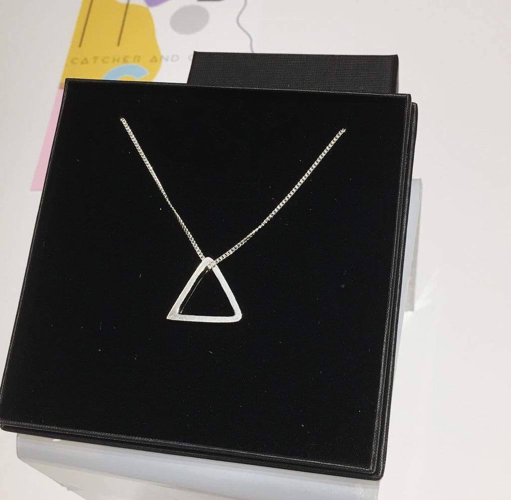 Sterling Silver long length triangle necklace
