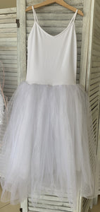 Second Hand Costume - White Romantic Tutu - size approx Child XLrg/Ad Sm