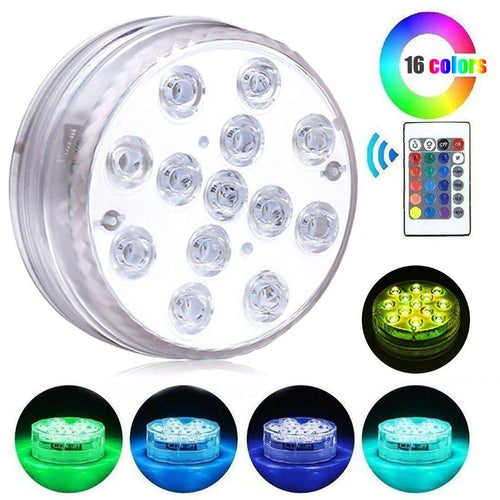 Luz 13 Led Colores Rgb Sumergible Exterior e Interior
