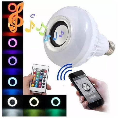 Ampolleta parlante bluetooth luces led colores con control