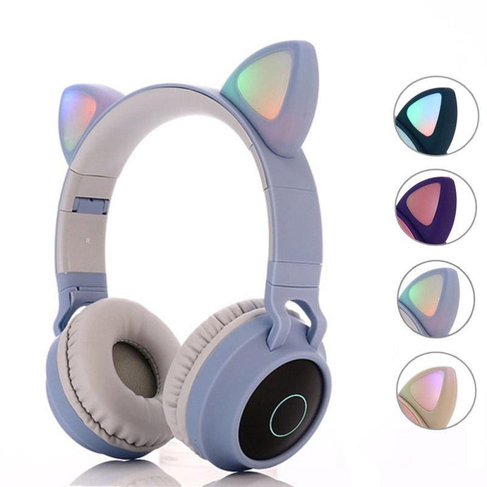 Audifono Con Bluetooth Gatito Con Luces Led De Colores