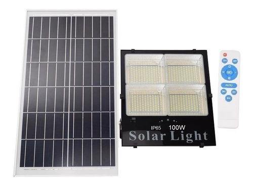Foco Solar Led Con Panel Control 100 Watts Reflector