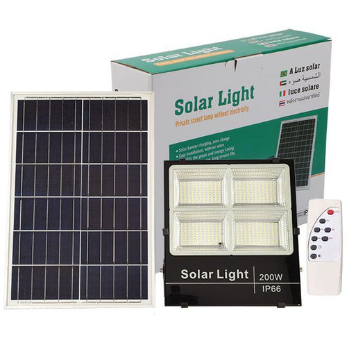 Foco Solar Led Con Panel Control 200 Watts Reflector