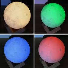 Lampara luna led de colores recargable con control