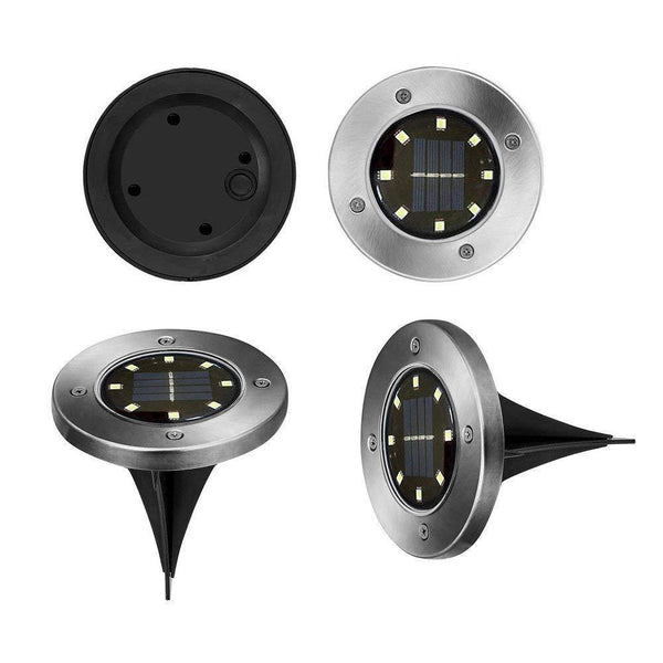 4 luces led solar para piso estaca jardin