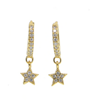 Gold Studded Single Star Hoop
