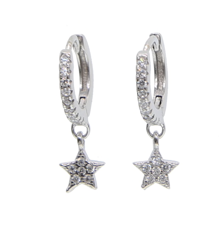 Silver Studded Single Star Hoop