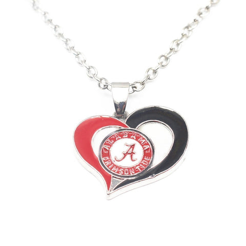 1pcs/lot NCAA Heart Alabama Crimson Tide Pendant Necklace With 50cm Chains Necklace For Women Long Necklace Jewelry