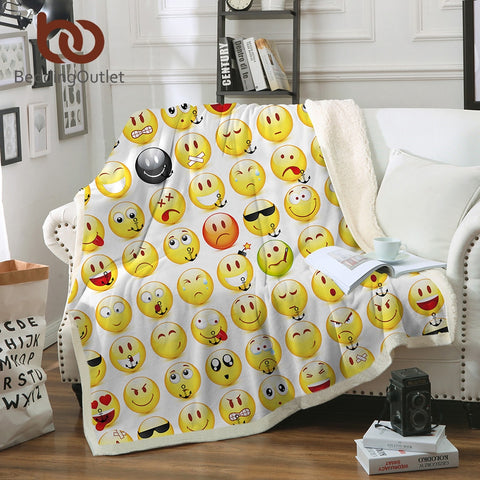 BeddingOutlet Sherpa Fleece Throw Blanket Smiley Face Bed Blankets for Young People Soft Cozy Crystal Velvet Plush Throw Blanket