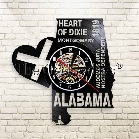 1Piece Alabama Heart Of Dixie Vinyl Record Wall Clock Montgomery Audemus Jura Nostra Defendere Home Decor Wall Watch Time Clock