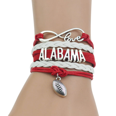 """ALABAMA"" Red+White Multi-Strands Infinity Silver Color Charm Leather Bracelet Bangle For Women Fashion Jewelry"