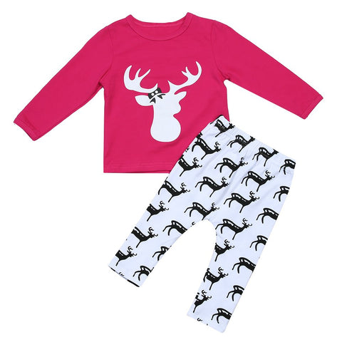 """Oh Deer"" girls Christmas outfit"