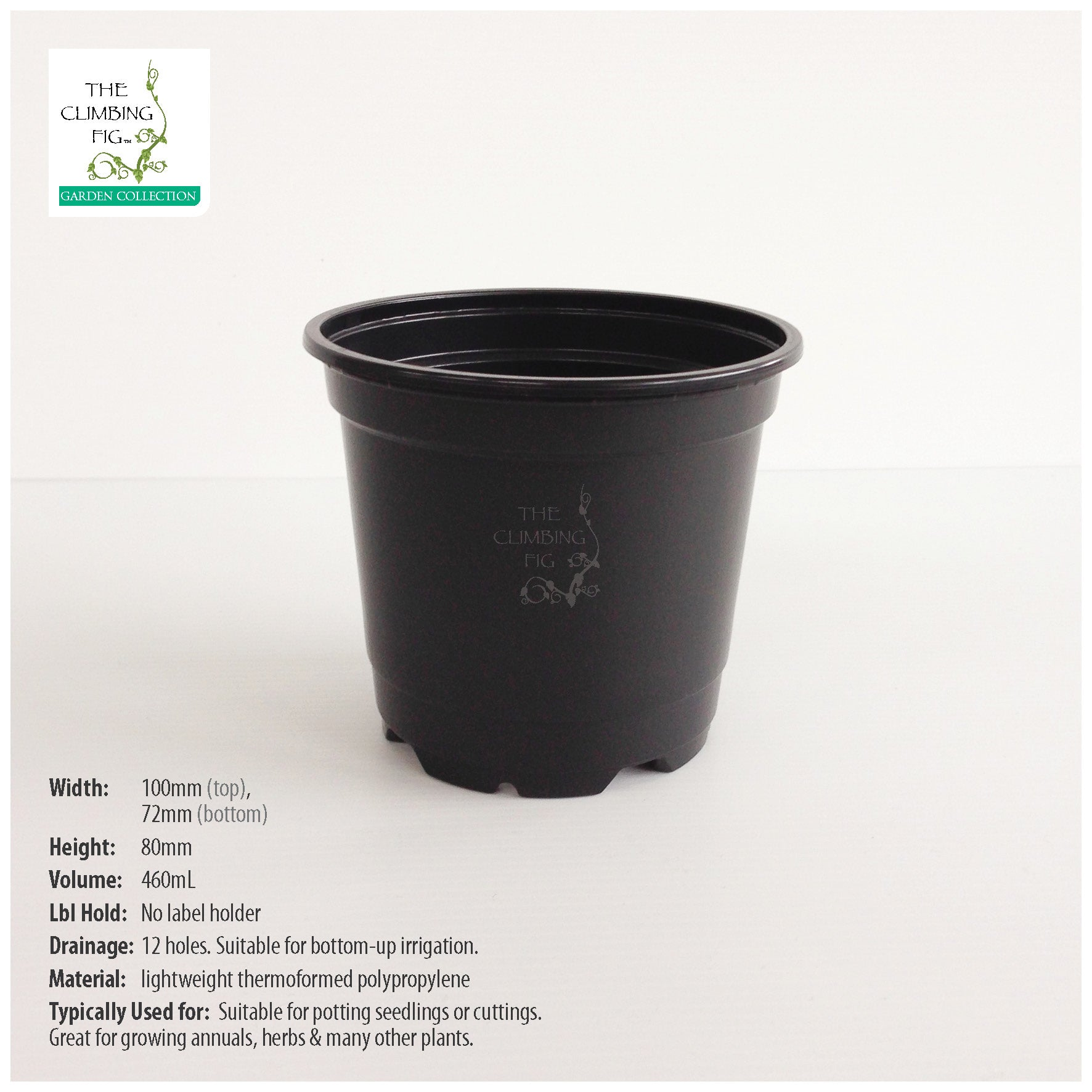 100mm Teku Round BLACK Plastic Pots. Ideal for potting seedlings & herb plants