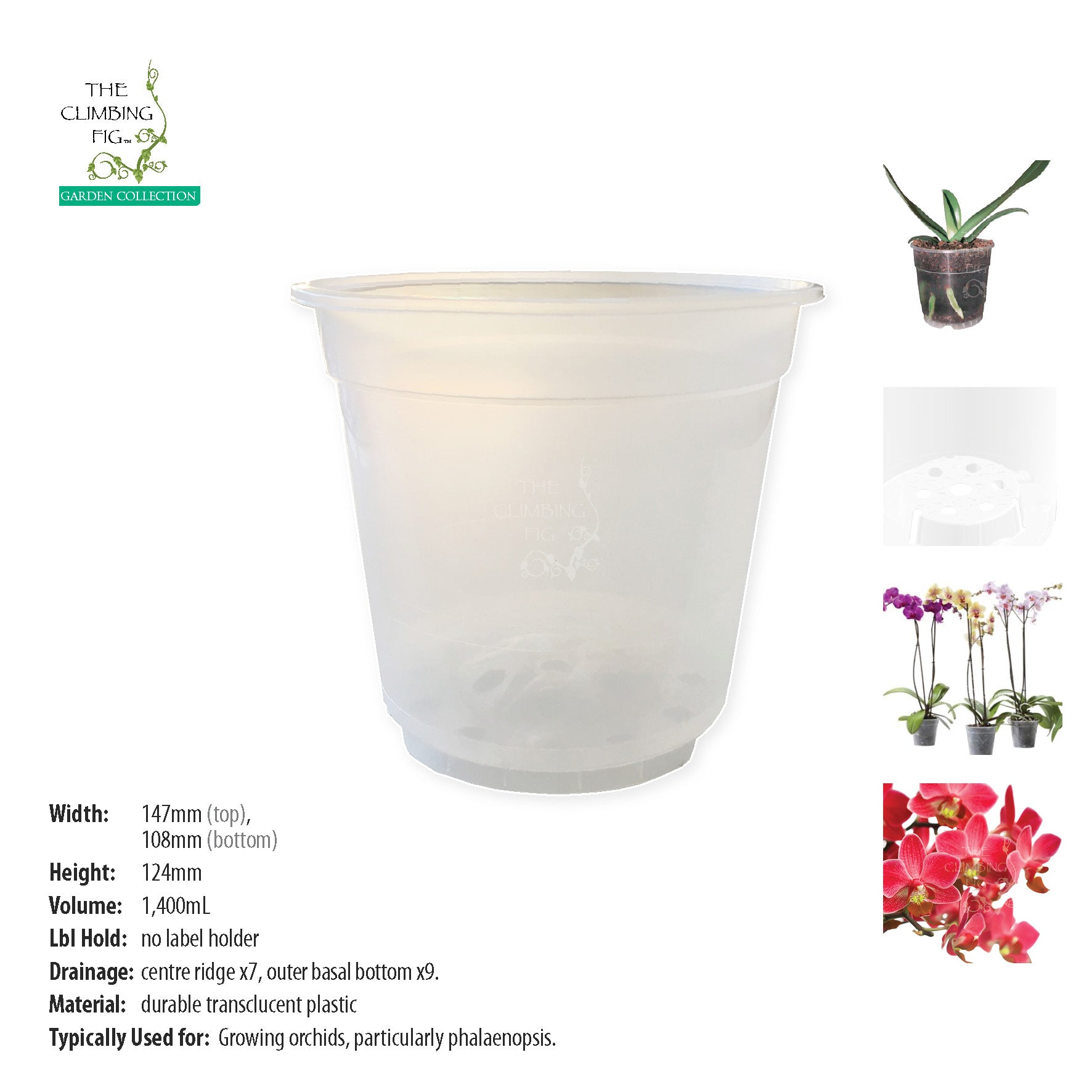 150mm Teku Round CLEAR Plastic Pots. Suits phalaenopsis & other orchid plants