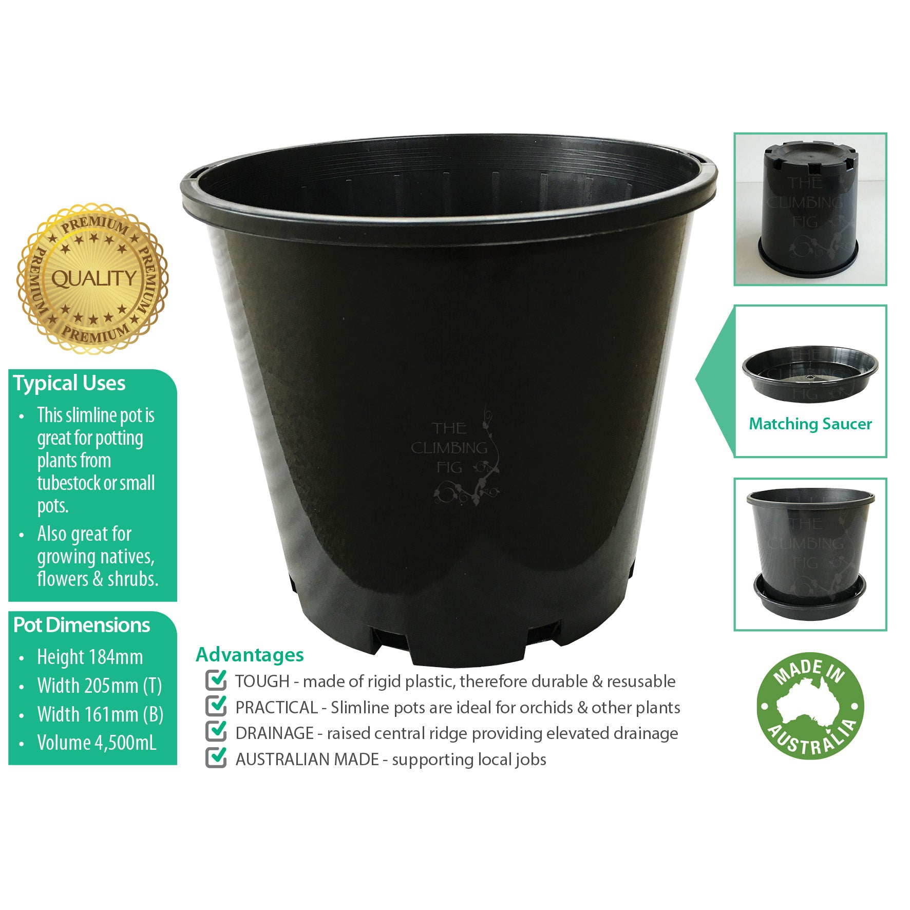 200mm Slimline BLACK Plastic Pots with Saucers. For potting plants orchids trees