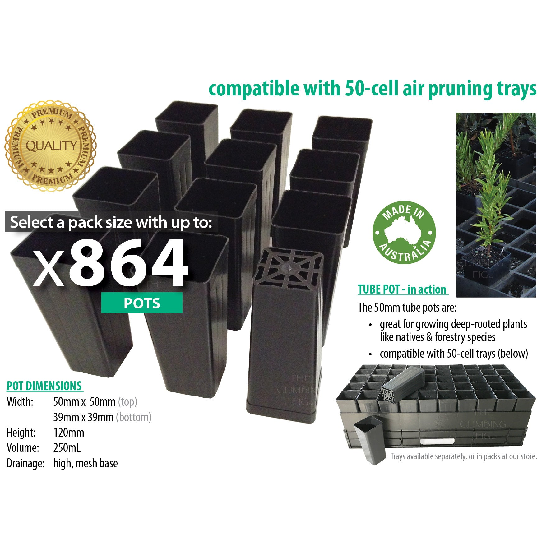 50mm Square Black Plastic Native Tube Pots. Deep tubestock forestry propagation