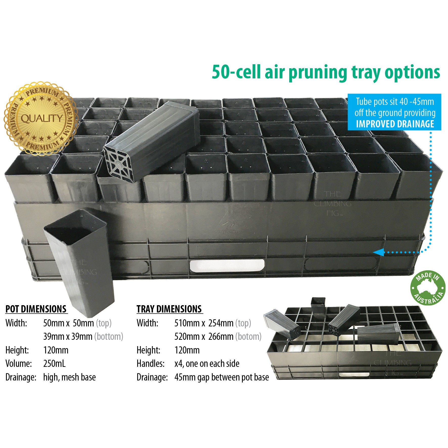50-Cell Air-Pruning Trays with 50mm Native Tube Pots. Plant forestry propagation