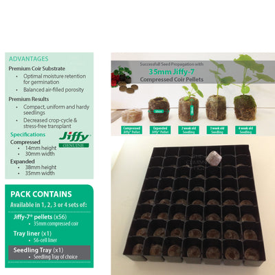 35mm Coir Jiffy-7 Tray Packs With Pellets & Inserts. For seedling propagation