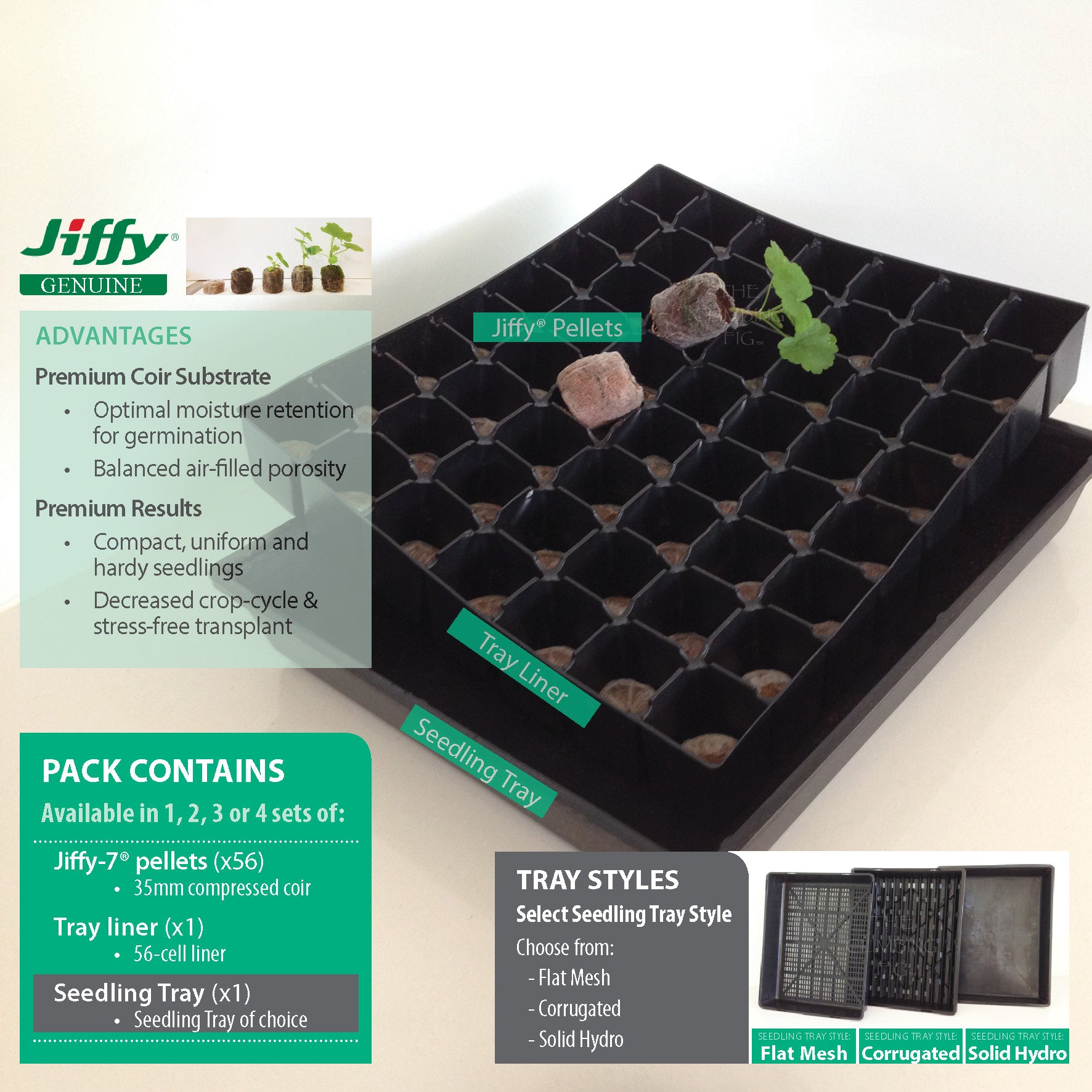 35mm Coir Jiffy-7 Tray Packs With Pellets & Inserts for seedling propagation