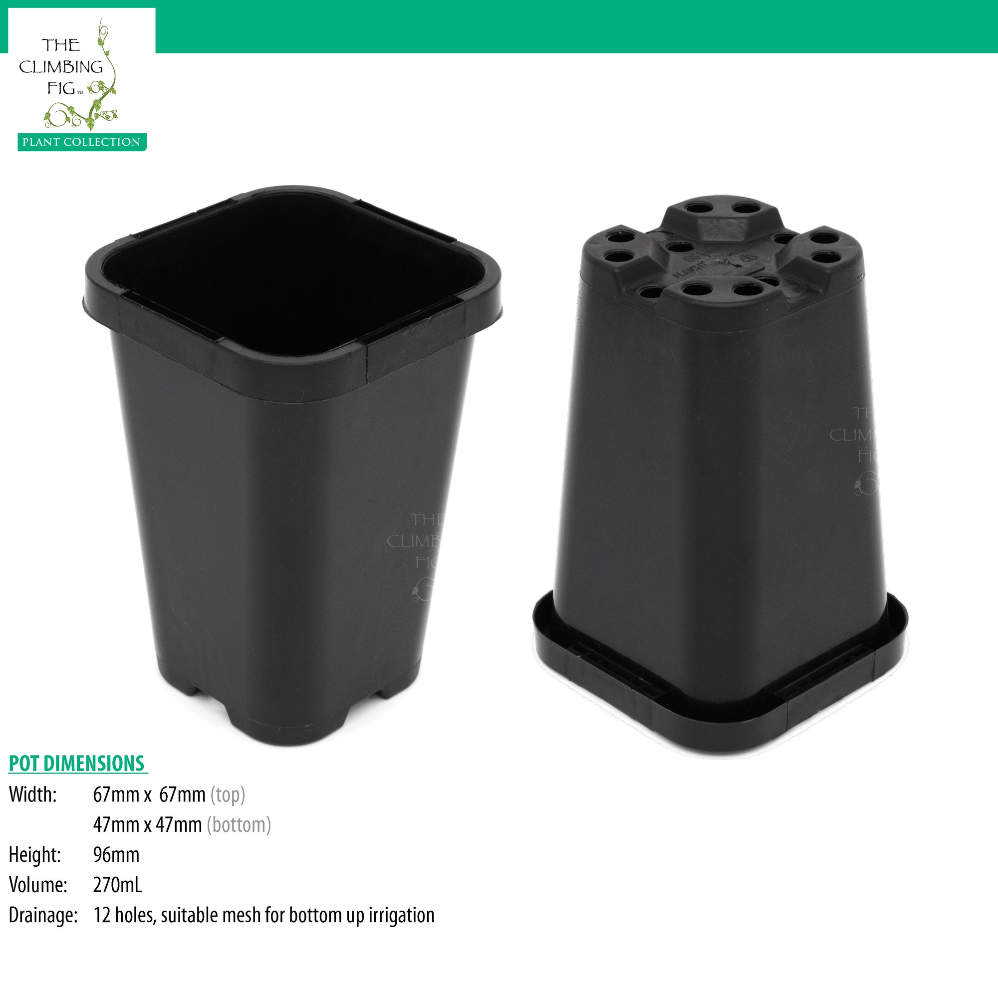 68mm Square BLACK Plastic Pots. Premium rigid pots with label holder slits