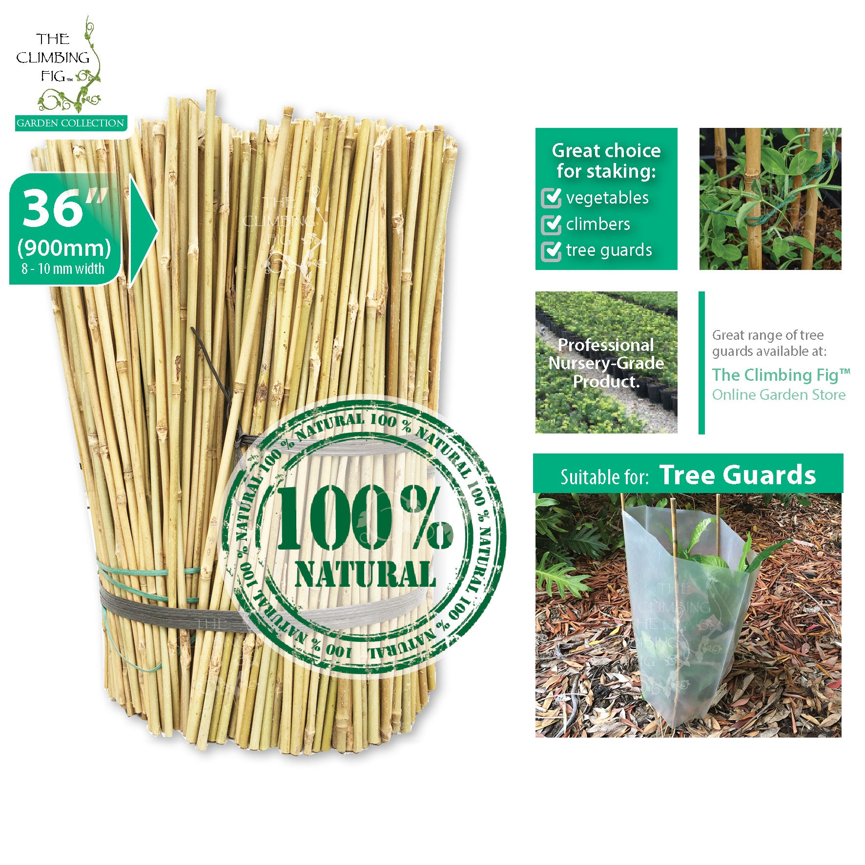 "90cm (36"") Bamboo Stakes NATURAL 8-10mm Thick. Vegetables garden plant trellis"