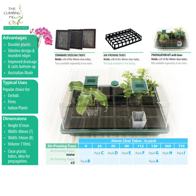 40-Cell Air Pruning Plastic Trays with 40mm CLEAR Tube Pot Sets. Orchids indoor