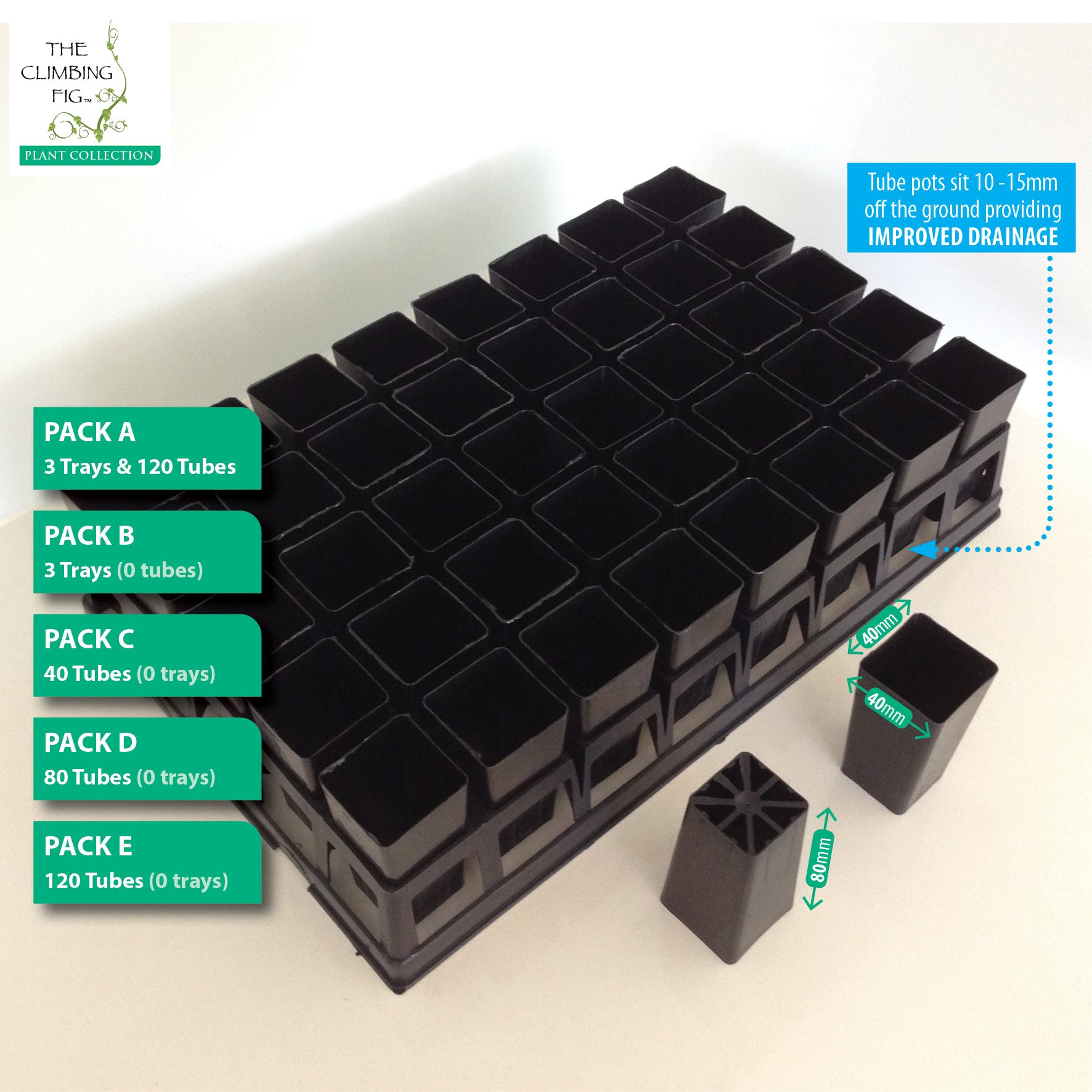 40-cell Air Pruning Plastic Trays with 40mm BLACK Tube Pot Sets. Seeds cuttings