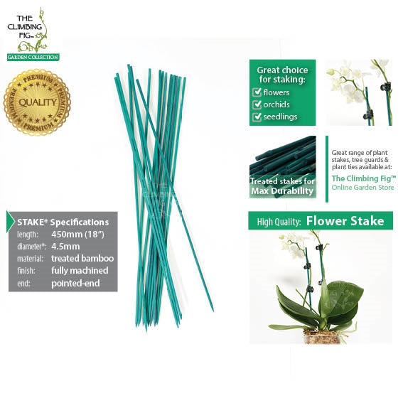 "45cm (18"") Bamboo Flower Stakes GREEN 4.5mm Thick. Machined for flowers orchids"