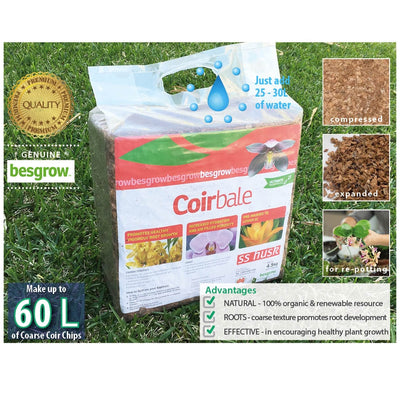 Besgrow 4.5kg SS Husk Chip Coir Block - Ideal For Orchids