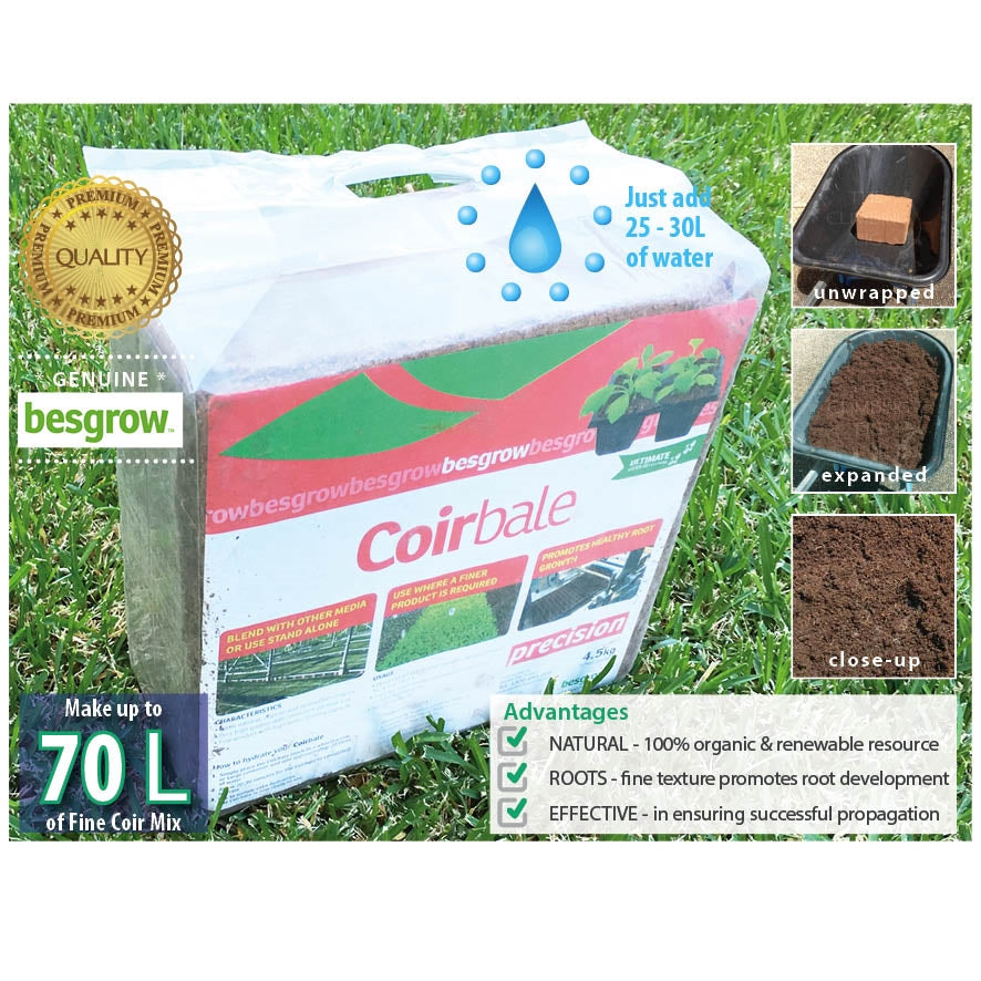 Besgrow 4.5kg PRECISION Coir Block with Fertiliser Option. Makes 70L of coir mix